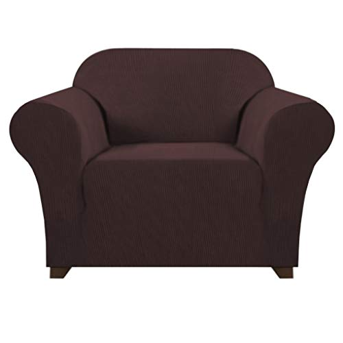 1 Piece High Stretch Sofa Cover for Living Room Jacquard Knitted with Lycra Sofa Slipcover Soft Thick Spandex Furniture Cover Stylish Sofa Chair Slip Cover (Chair: 1 Seater, Brown)