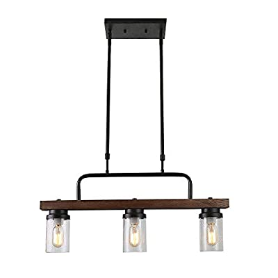 Anmytek Kitchen Island Pendant Lighting with Bubble Glass Shade Industrial Rustic Chandelier Retro Ceiling Light or Edison Vintage Hanging Light Fixture 3-Lights (C0038)