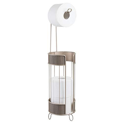 mDesign Toilettenpapierhalter stehend – moderner Papierrollenhalter fürs Badezimmer – Klopapierhalter für mehrere Rollen – mit Halter für 3 Reserverollen – champagnerfarben