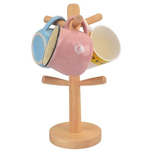 ☀ Dergo ☀storage rack ,Kitchen Towel Paper Roll Holder / 6 Mug Tea Cup Tree Rubbe Wood Wooden Stand New