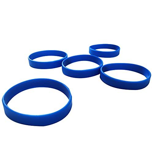LVNRIDS Braccialetti elastici in silicone 50 pezzi, braccialetti con cinturini in gomma personalizzabili per feste sportive a scuola Blu
