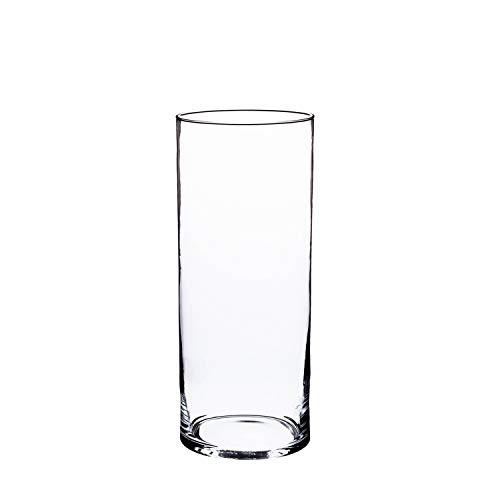 INNA-Glas Zylinder Vase Sansa, transparent, 25cm, Ø 12cm - Kerzenglas - große Blumenvase