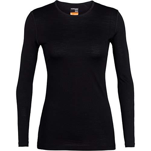 Icebreaker 200 Oasis LS Crewe Camiseta, Mujer, Negro, XS