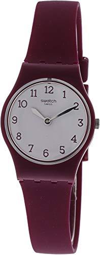 Swatch Redbelle LR130 - Reloj elegante de cuarzo suizo de silicona roja para mujer