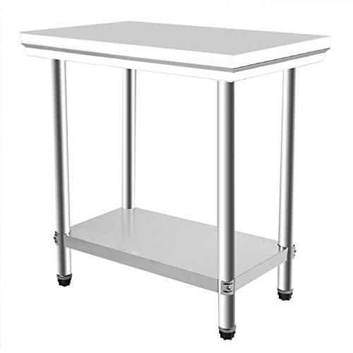 Mesa de trabajo de cocina de 80 x 50 x 85 cm, 2 capas, mesa de catering de acero inoxidable, mesa de cocina duradera