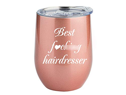 Hairdresser Gifts - Hair Stylist   Steel Tumbler for Coffee Mug or Wine Glass   Hairstylist Gift, Christmas Hair Dresser Cup, Salon Gifts by Globodyne (Rose Gold, 12 Ounce)