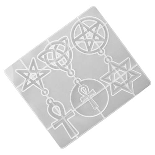Milisten Silicone Star Mold Epoxy Resin Casting Charms Molds Celtic Knot Ankh Cross Pentacle Star Mold Six Pointed Cake Dessert Candy Mold Jewelry Charm DIY Molds