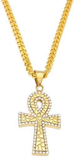 WLHLFL Necklace Egyptian Key of Life Stainless Steel Gold Color Cross Pendant Necklace with Rhinestone Jewelry for Women Men Gift