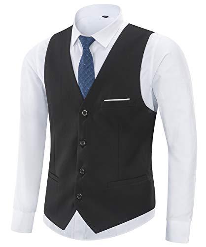 Yingqible Herren Anzugweste Weste V-Ausschnitt Ärmellose Westen Slim Fit Anzug Business Hochzeit Smoking Sakko Weste Elegant (Medium, Schwarz)