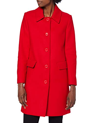Love Moschino Womens Heart and Logo Studs in The Back Wool Coat, red, 42