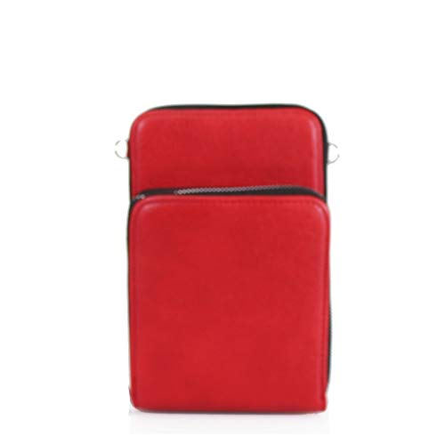 LeahWard Women Small Faux Leather Cell Phone Purse Phone Holder Phone Case Wallet Bag Pouch Cross Body Bag (Red Slim)