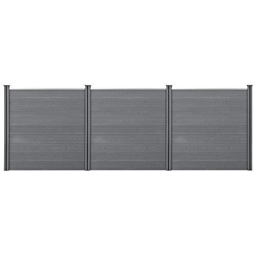 neu.holz] Clôture Brise Vue Brise Vent Bois Composite (WPC) Gris 183 x 531 cm