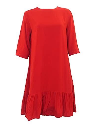 Hard Tail Women's All Day Ruffle Bottom Dress (Style: RV-62) (Ruby, XL)