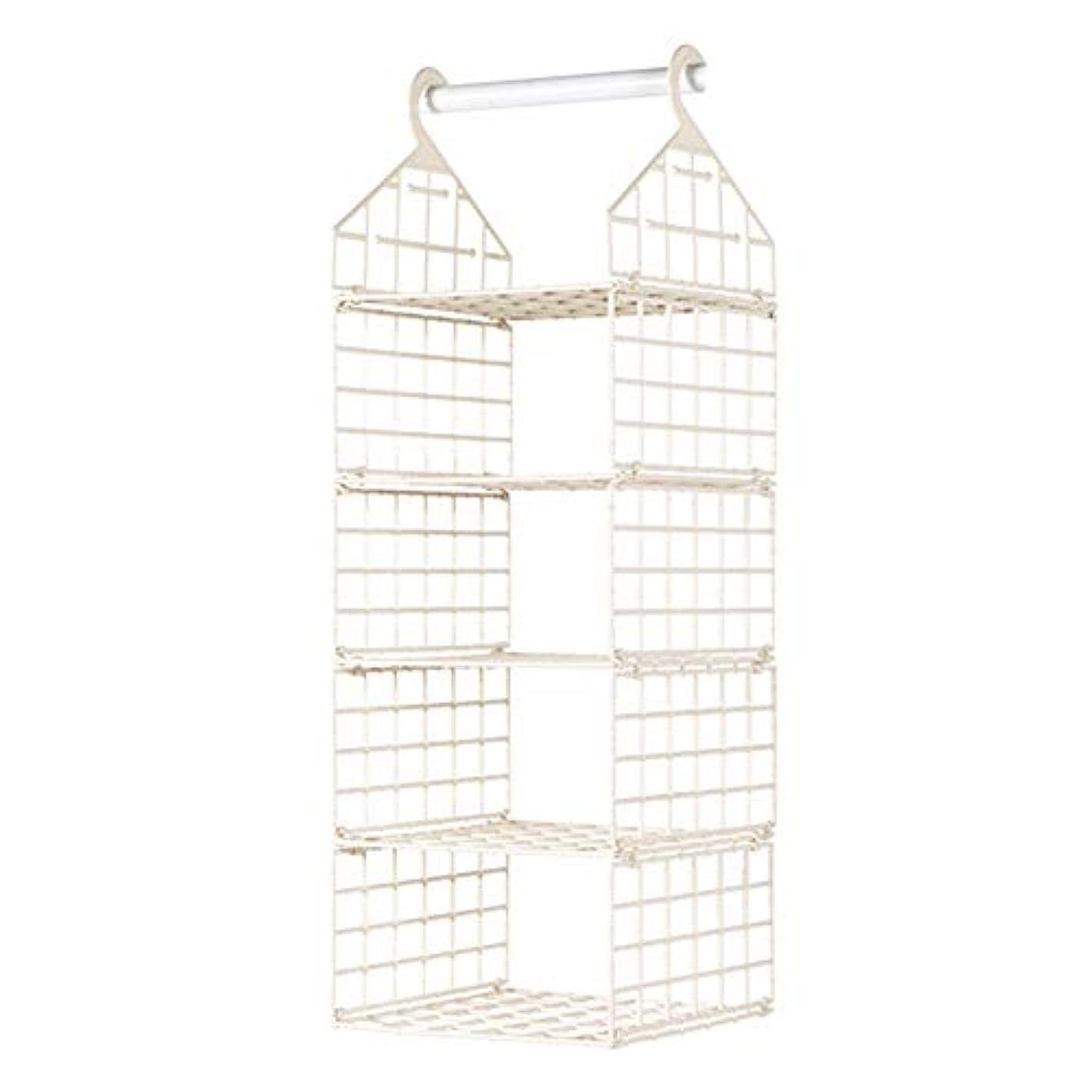 HINMA2 5-Shelf Hanging Closet Organizer, Hanging Clothes Storage Box, Closet Hanging Shelf,Sweater & Handbag Organizer, Shoes Accessories Storage,Easy Mount(Beige)