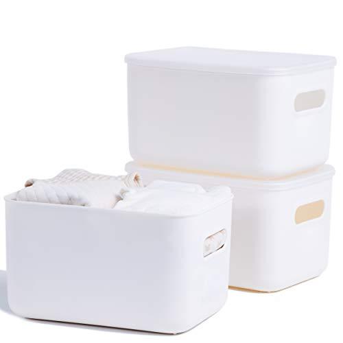 Citylife Aufbewahrungsbox 3er-Set Aufbewahrungsbox Kunststoff Stapelbar Aufbewahrungsbox mit Deckel Aufbewahrungsbox mit Griff Plastic Storage Box für Küche Badezimmer