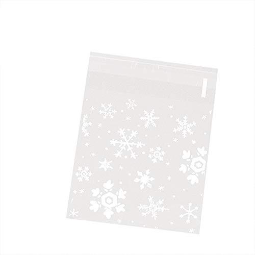 MoGist Lot de 100 sachets autocollants en plastique OPP minimalistes avec motif flocons de neige Blanc Taille M