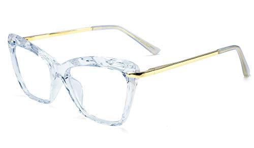 FEISEDY Cat Eye Glasses Frame Crystal Clear Lenses Eyewear Women B2440 (Blue, 52)