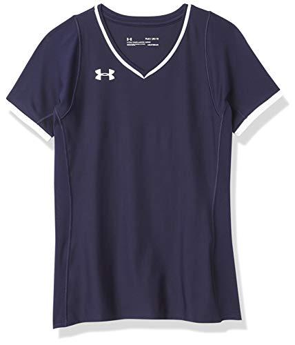 Under Armour Mädchen Volleyball Powerhouse Short Sleeve Jersey kurzärmelig, Midnight Navy (410)/White, Jugend Small