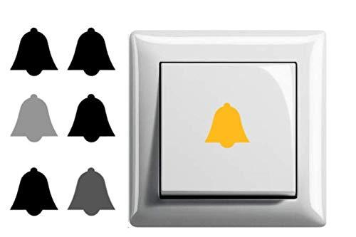 Generisch 6 pegatinas para interruptor de timbre (246/6/3) (gris plateado brillante, 2,5 x 2,5 cm)