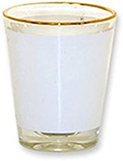 12 Pcs. BLANK SUBLIMATION SHOT GLASSES 1.5oz WHITE PATCH HEAT TRANSFER REF. 10300