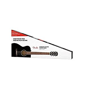 Fender CC-60S Beginner Concert Pack, Black with Gig Bag, Strap, Picks, Strings, and Fender Play
