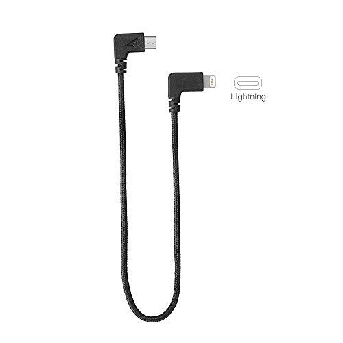 Rantow Nylon Video Daten Blitz/Type-C auf USB Kabel für DJI Mavic Pro/DJI Spark Drone Fernbedienung (29cm Lightning Black)