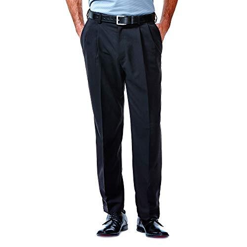Haggar Men's Cool 18 Heather Solid Pant - Regular - 42W x 29L - Black