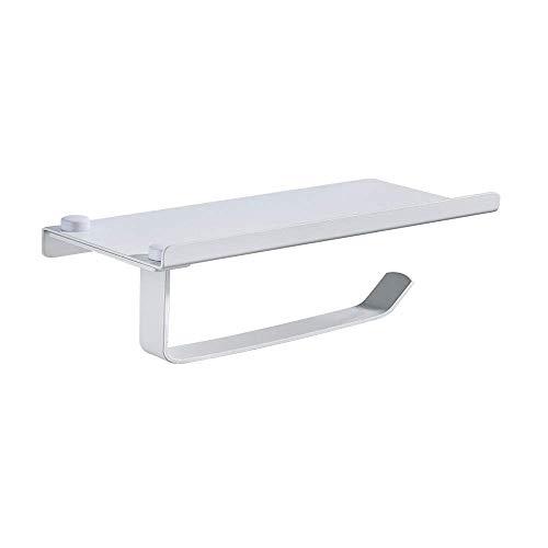 YLLAND Hogar papel higiénico titular auto-adhesivo aluminio papel higiénico titular accesorios baño titular papel titular caja de pañuelos 18x9x7cm blanco LNNDE