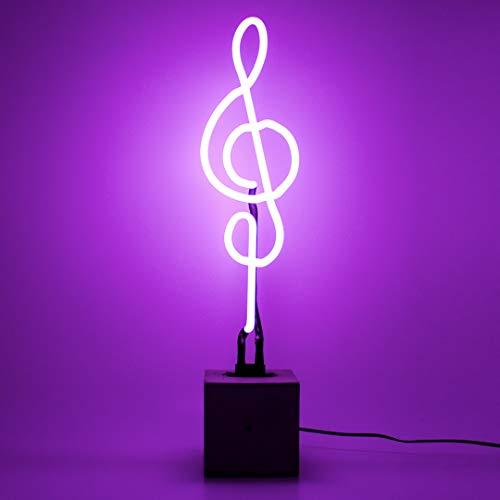 Locomocean Muziek Noot Sol Sleutel Lamp Neon op betonnen voet Sfeer Licht Sign