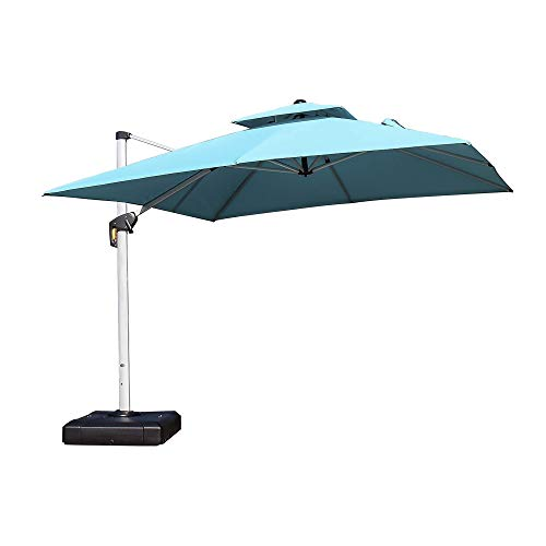 PURPLE LEAF 9ft Patio Umbrella Outdoor Square Umbrella Large Cantilever Umbrella Windproof Offset Umbrella Heavy Duty Sun Umbrella for Garden Deck Pool Patio, Turquoise Blue