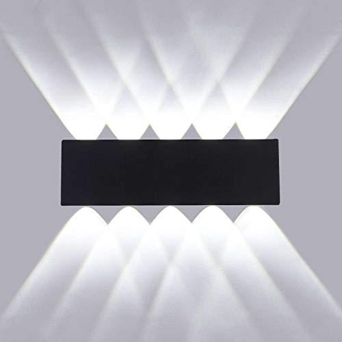 Lightsjoy Led Wandleuchte Innen Modern Wandlampe Schwarz 10W Led Lampen aus Aluminium IP54 Schlafzimmer Wohnzimmer Treppenhaus Flur Küche Esszimmer ,6000K Kaltweiß