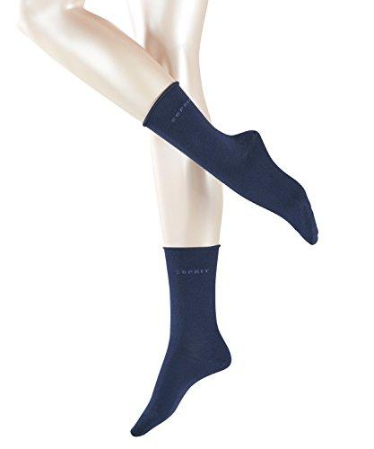 ESPRIT Damen Socken Basic PURE 2er Pack - 91% Baumwolle , 2 Paar, Blau (Marine 6120), Größe: 35-38