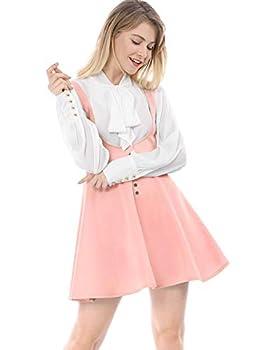 Allegra K Women s Cute Button Decor Overalls Pinafore Dress Suspenders Skirt Large Pink