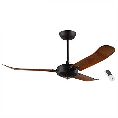 EGLO Deckenventilator Hoi An, 3 Flügel Ventilator mit Fernbedienung, hochwertiges Schichtholz in Holz-Farbe Eiche dunkel, Schwarz struktur, AC Motor, Ø 137cm