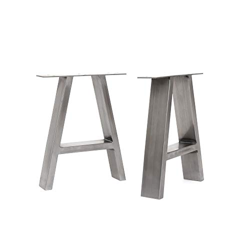 [HLC] 2 x patas industriales de mesa con marco en A: acero acondicionado de superficie, soldadura TIG con tornillos GRATUITOS, guía de construcción y protectores de suelo [Banco, Acero sin procesar]