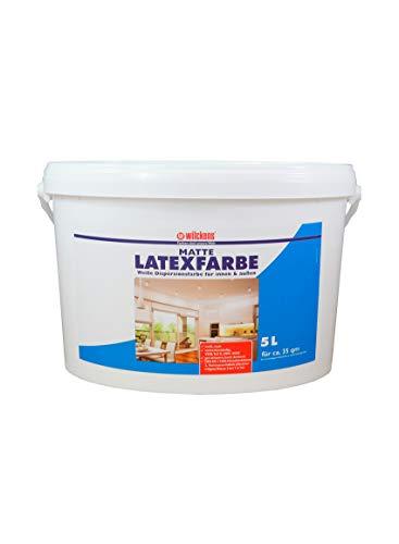Latexfarbe weiß matt 5 L ca. 30 m² Putz Beton Faserzement Innenfarbe Farbe glänzend Wilckens