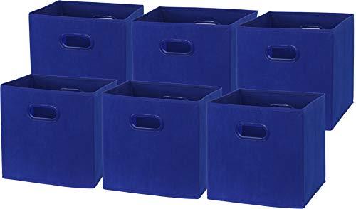 6 Pack - SimpleHouseware Foldable Cube Storage Bin with Handle, Dark Blue(12-Inch Cube)