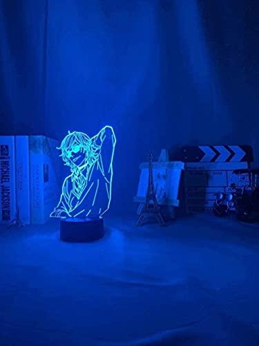 FUTYE Lámpara 3D de luz nocturna Anime My Hero AcademiaLight Bakugo para decoración de dormitorio, regalo de cumpleaños, manga Gadget Katsuki Bakugo Touch Control-16_Colors_Remote