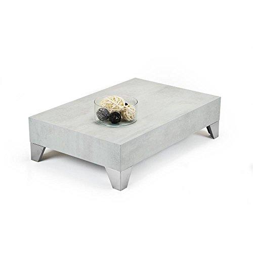 Mobili Fiver, Tavolino da Salotto, Evolution 90, Cemento, 90 x 60 x 24 cm, Nobilitato/Acciaio Inox Satinato, Made in Italy, Disponibile in Vari Colori