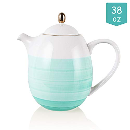 Sweejar Ceramic Teapot with Infuser and Lid 38 OZBlue