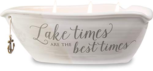 Pavilion Gift Company Lake Best Times-Ceramic Boat Shaped 3 Lead Free Triple Wick 10 oz Soy Wax Candle Scent: Tranquility, 2.75 Inch Tall, Beige