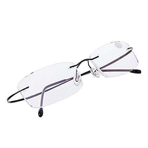 Kalttoy Ultraleichtes Titan randlose rechteckige Brille Brille Brillengestell Brillen (Schwarz, 1.5)