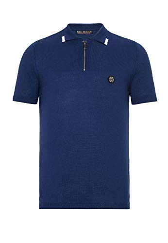 Herren Designer Poloshirt T-Shirt Sportiv Casual Kurzarm Strick Regular Fit Blau XXL