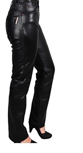Fuente - Pantalones largos de piel para mujer de napa de cordero supersuave para hombre, piel auténtica, pantalones vaqueros 501, color negro, para moto, hombre y mujer