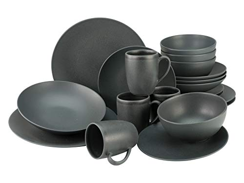 Creatable, 23146, Serie SOFT TOUCH BLACK, Geschirrset, Kombiservice 20 teilig, Steinzeug, schwarz
