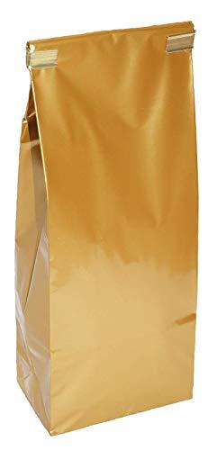 100 Stück Teetüten 100gr. GOLDFARBEN mit Clips, Teeverpackung Verpackung Tee Kaffee Gewürze