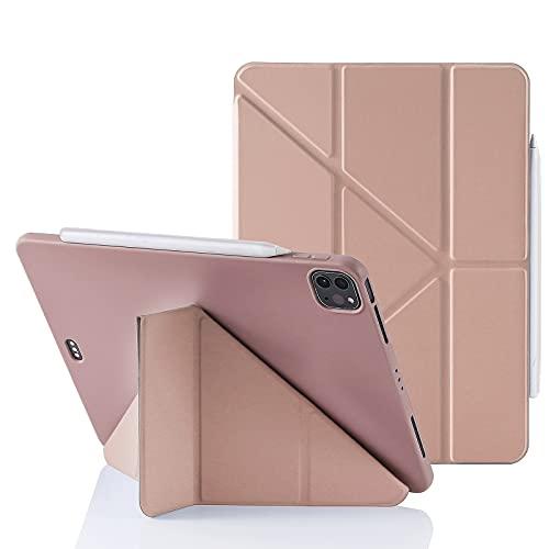 """MuyDoux Funda para iPad Pro 11"""" 2021/2020/2018 (3.ª/2.ª/1.ª Generación), 5-en-1 Múltiples Ángulos de Visión, Acabado Suave Sedoso con Forro Aterciopelado, Auto Sueño/Estela Pencil 2 Cargando -Oro Rosa"""