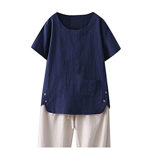 Julhold Camisa Mujer Sólido Lino Manga Corta Suelta Top, azul marino, M