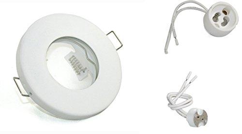 ***Sonderpreis*** Einbaustrahler IP65 Optik: Weiss Bad | Dusche | Sauna | inkl. GU10 Fassung 230Volt + MR16 GU5.3 Fassung 12Volt | Einbauleuchten weiss lackiert - rostfrei