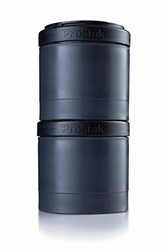 BlenderBottle ProStak Expansion Pak, 2 Pak Container (2x 250 ml) inklusive 1. Pillenfach, schwarz